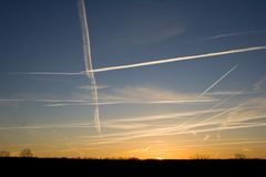 Morning chem trails Stock Images