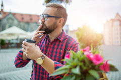 Morning chillout with coffee and cigarette Stock Image