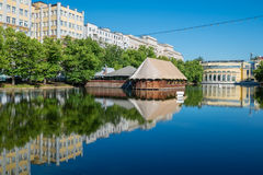 Morning on Chistoprudny Boulevard. Clean pond on Chistoprudny Boulevard. Moscow Stock Images
