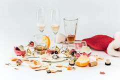 The morning after christmas day, table with alcohol and leftovers Royalty Free Stock Photo
