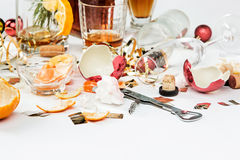 The morning after christmas day, table with alcohol and leftovers Royalty Free Stock Images