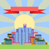 Morning city in the background of the rising sun. Vector. Royalty Free Stock Image