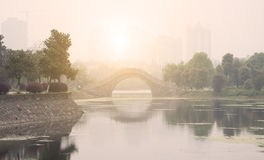 Morning city park in china Royalty Free Stock Photo