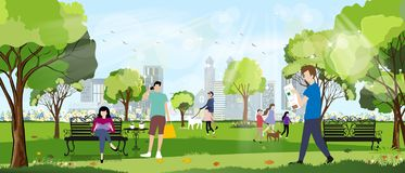 Free Morning City Park With Happy Family Having Fun,girl Walking The Dog, Young Boy Talking On Phone,man Reading News Paper And Women Royalty Free Stock Photos - 164493088