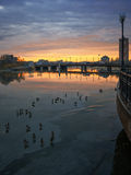 Morning in the city by the river. Cityscape, Spring Dawn at the river Stock Photos