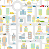 Morning city seamless pattern.  Texture Cartoon cute map for bab Royalty Free Stock Photos