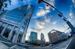 Morning city skyline and streets in charlotte nc Stock Photography