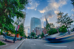 Morning city skyline and streets in charlotte nc Royalty Free Stock Photo