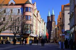 Morning in the city. Street landscape of Legnica, Poland stock photos