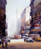 Morning City Street  - Watercolor on paper painting Royalty Free Stock Photography