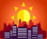 Morning cityscape in the sunlight in the flat style.A striking c. Morning cityscape in the sunlight in the flat style. A striking contrast between the royalty free illustration