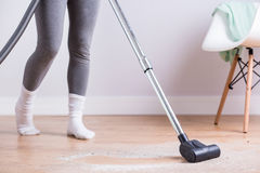 Morning cleaning the house stock photography