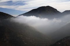Morning clouds below mountains, Pine Mountain California, USA Royalty Free Stock Images