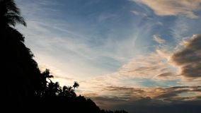Morning clouds over palm tree silhouettes. A video showing colorful morning clouds moving over palm tree silhouettes on San Juan beach, Siquijor Island stock footage