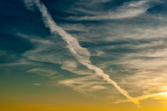 Morning cloudy sky with turbulence traces. dawn. background Stock Photos