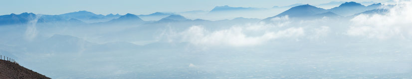 Morning cloudy top view of Naples city (Italy). Stock Images