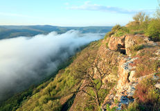 Morning cloudy view from top of Mangup Kale Stock Photos