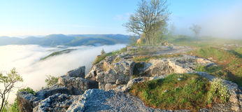 Morning cloudy view from top of Mangup settlement Stock Photography