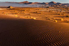 Morning coastal fog recedes from Namibian desert revealing more dunes. Morning coastal fog recedes from Namibian desert revealing ridges of sand dunes in Royalty Free Stock Images