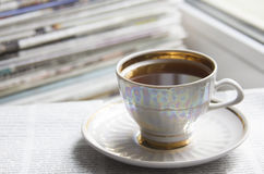 Morning cofee and newspapers Royalty Free Stock Photos