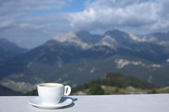Morning coffe cup. With mountain view Stock Photos