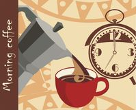 Morning coffee. Vector drawing of the morning coffee Stock Photography