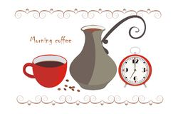 Morning coffee. Vector drawing of the coffeemaker, cup of coffee and watches Stock Photos