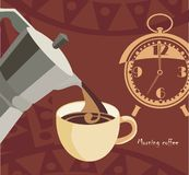 Morning coffee. Vector background with coffee-maker, cup of coffee and watches Royalty Free Stock Image