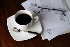 Morning coffee. Black coffee in the morning Royalty Free Stock Photo