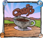 Morning coffee. Illustration of cup of coffee with morning background of country side view Royalty Free Stock Photo