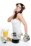 Morning coffee. Woman has her breakfast and cup of morning coffee Stock Images