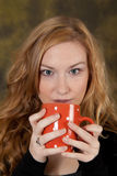 Morning Coffee. Pretty college student, drinking morning coffee Stock Photo