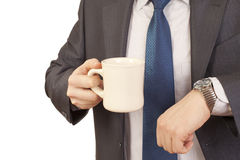 Morning coffee. Businessman holdind mug with Morning coffee Royalty Free Stock Image