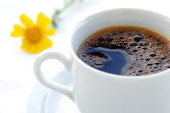 Morning coffee. Fresh black coffee royalty free stock images