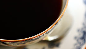 Morning Coffee. Black Coffee, old china Royalty Free Stock Images