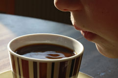 Morning coffee. A hot cup of coffee Stock Photography