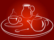 Morning coffee. Coffee service with  cup, coffee pot, spoon, tray and milkman Stock Image
