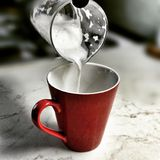 Morning coffee. Artistic look in vintage vivid colours. Stock Photo