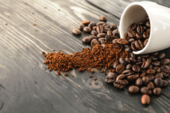 Morning coffee bean and cup top on wood Royalty Free Stock Photo