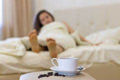Morning coffee in bed. Royalty Free Stock Photography