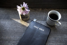 Morning Coffee With Bible Illuminated By Sunlight stock images