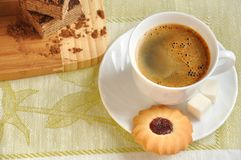 Morning coffee with biscuits and cake Royalty Free Stock Image
