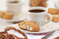 Morning coffee with biscuits Stock Photos