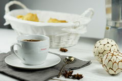 Morning coffee with biscuits. In a  white background White basket for coffee rolls Royalty Free Stock Photo