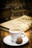 Morning coffee break with newspaper Stock Photo