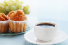 Morning coffee. Morning breakfast coffee with a muffins Stock Images