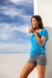 Morning coffee breakfast yoga woman at home royalty free stock photos