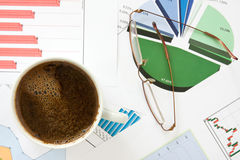 Morning coffee with business documents Stock Image