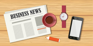 Morning coffee with business news Stock Photography