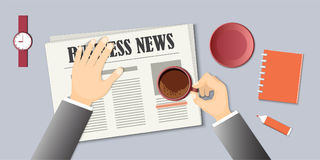 Morning coffee with business news and hands Royalty Free Stock Photography